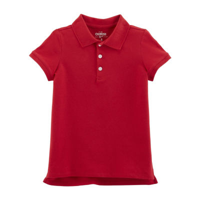 Oshkosh Short Sleeve Knit Polo Shirt -Girls 4-14