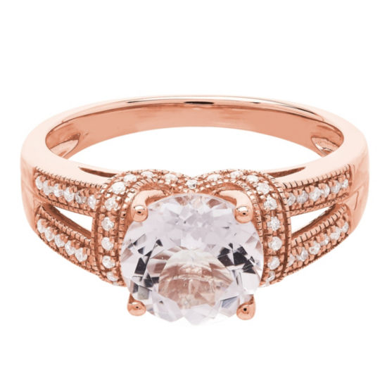 Womens Pink Morganite 14K Rose Gold Cocktail Ring