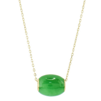 Womens Genuine Green Jade 14K Gold Pendant Necklace