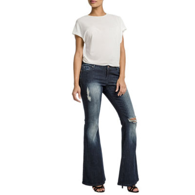 """Poetic  Justice Curvy 24"""" Flare Leg Destroyed Jean"""