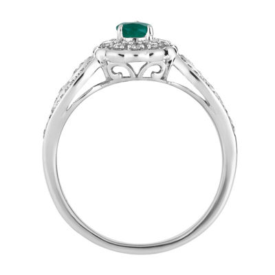 Womens 1/3 CT. T.W. Genuine Green Emerald 10K White Gold Cocktail Ring