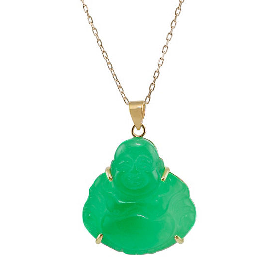 Womens Genuine Green Jade 14K Gold Pendant Necklace