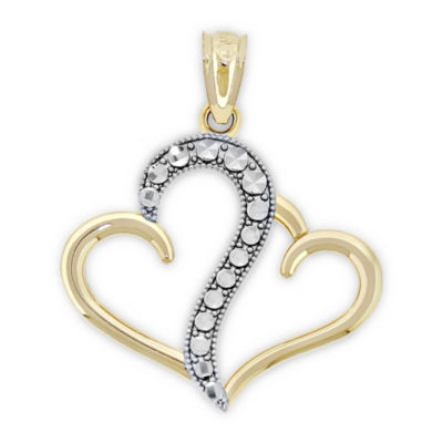 Womens 14K Two Tone Gold Heart Pendant