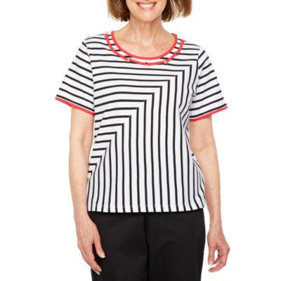 Alfred Dunner Barcelona Short Sleeve Crew Neck Stripe T-Shirt-Womens Petite