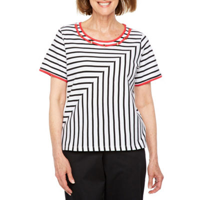 Alfred Dunner Barcelona Short Sleeve Crew Neck Stripe T-Shirt-Womens Petite