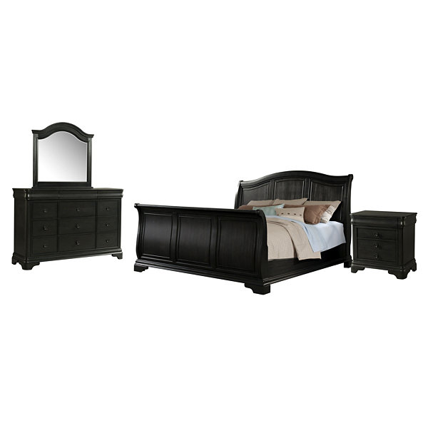 Picket House Furnishings Conley Charcoal Sleigh 4-pc. Set