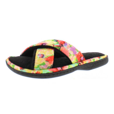 Gold Toe Floral Cross Band Slip-On Slippers