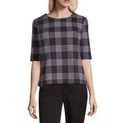 Liz Claiborne® Elbow-Sleeve Houndstooth Knit Top