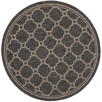 Safavieh Courtyard Collection Ian Geometric Indoor/Outdoor Round Area Rug