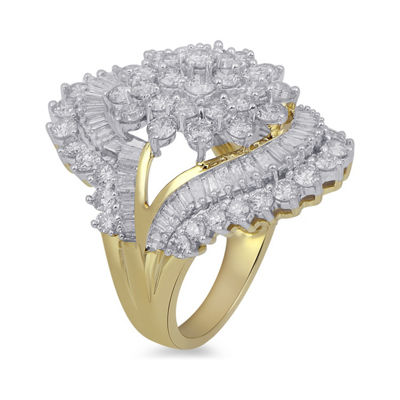 Womens 4 CT. T.W. Genuine White Diamond 10K Gold Cocktail Ring