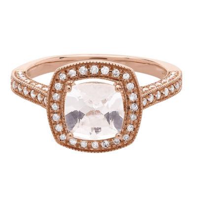 Womens Pink Morganite 14K Rose Gold Cocktail Ring