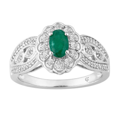 Womens 1/3 CT. T.W. Green Emerald 10K Gold Cocktail Ring