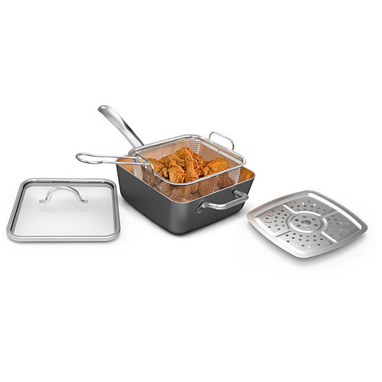 "Cooks Copper 9.5"" Deep Dish Fry Pan Set"