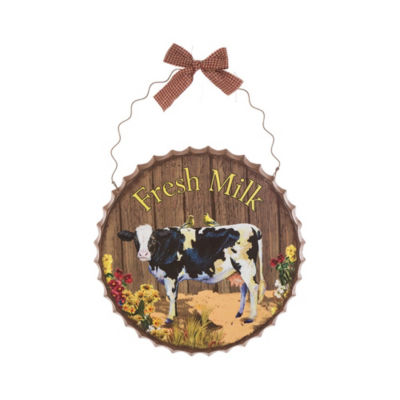 Metal Farmhouse Bottle Cap with Cow Wall Decor