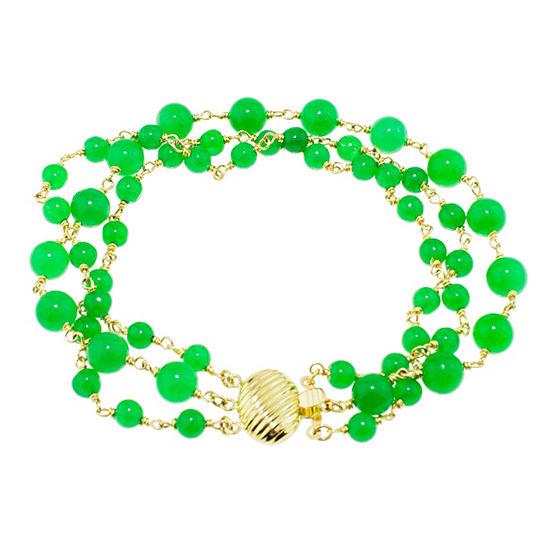 Genuine Green Jade 14k Gold Beaded Bracelet