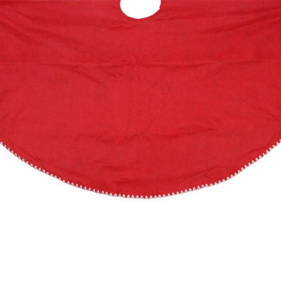 """48"""" Christmas Traditions Reversible Red and Green with White Shell Stitching Christmas Tree Skirt"""