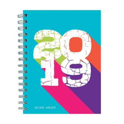 July 2018 - June 2019  Color Block Medium Weekly Monthly Planner
