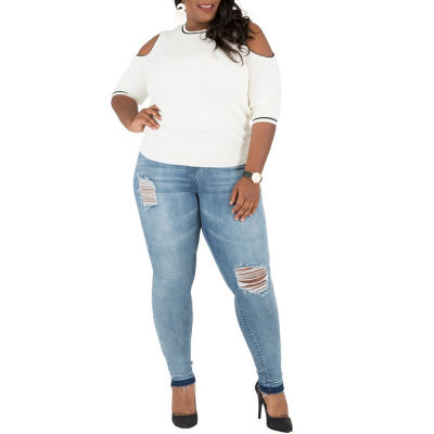 Poetic Justice Curvy Skinny Jean With Released Hem - Plus