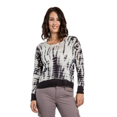 Women's Hacci Knit Scoop Neck Tie Dye Pullover Sweater Side Slits