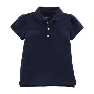 Oshkosh Girls Spread Collar Short Sleeve Polo Shirt - Toddler