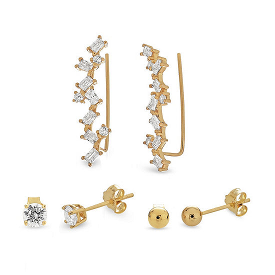 White Cubic Zirconia 18K Gold Over Silver Sterling Silver 3 Pair Earring Set