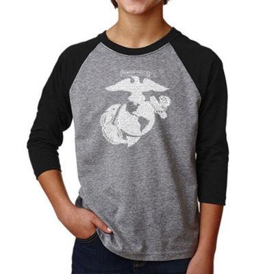 Los Angeles Pop Art Boy's Raglan Baseball Word ArtT-shirt - LYRICS TO THE MARINES HYMN