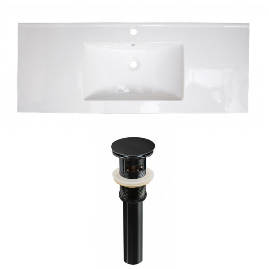 48.75-in. W 1 Hole Ceramic Top Set In White Color- Overflow Drain Incl.