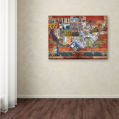 Trademark Fine Art Masters Fine Art USA License Plate on Colorful Wood Giclee Canvas Art