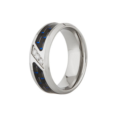 Mens 1/10 CT. T.W. White Diamond Stainless Steel Carbon Fiber 8MM Wedding Band