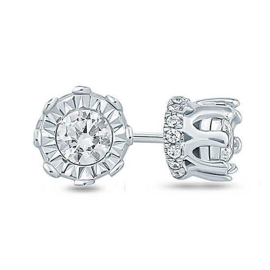 1/4 CT. T.W. Genuine White Diamond 10K Gold 5.5mm Stud Earrings