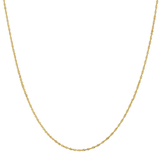 "14K Gold 14-30"" Solid Singapore Chain Necklace"