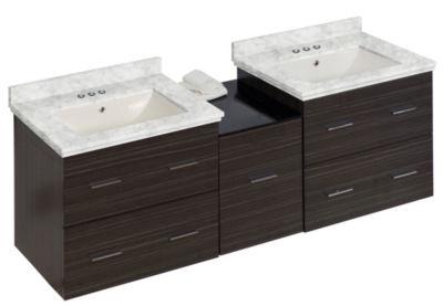 61.5-in. W Wall Mount Dawn Grey Vanity Set For 3H4-in. Drilling Bianca Carara Top Biscuit UM Sink