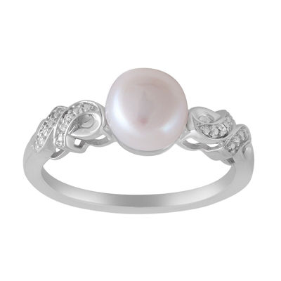 Womens Diamond Accent 7MM White Cultured Freshwater Pearl Sterling Silver Cocktail Ring