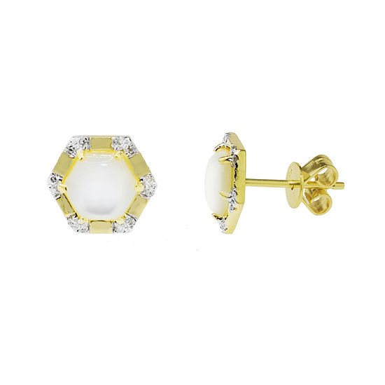 Diamond Accent Genuine White Mother Of Pearl 14K Gold 10mm Stud Earrings