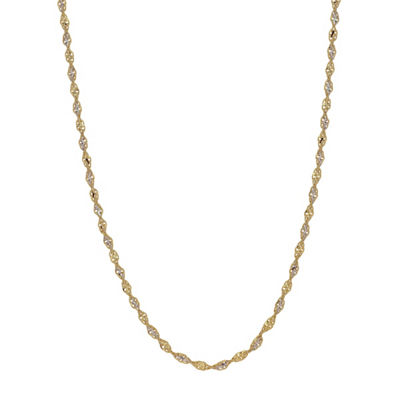 14K Gold 14K Two Tone Gold 18 Inch Solid Link Chain Necklace