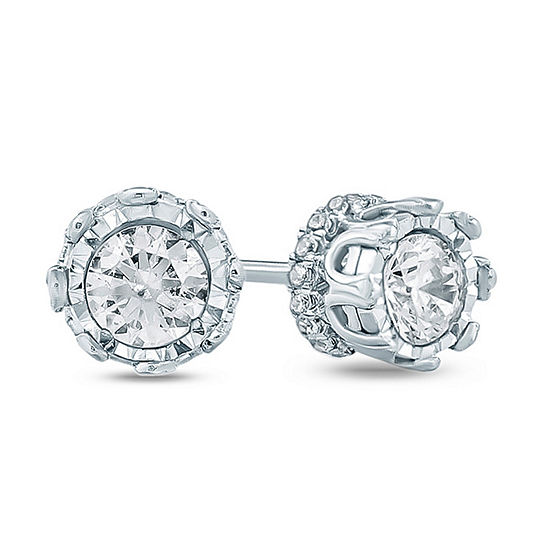 1/2 CT. T.W. Genuine White Diamond 10K Gold 4.1mm Stud Earrings