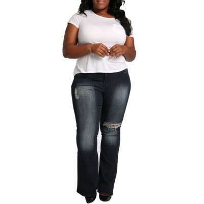 "Poetic  Justice Curvy 24"" Flare Leg Destroyed Jean - Plus"