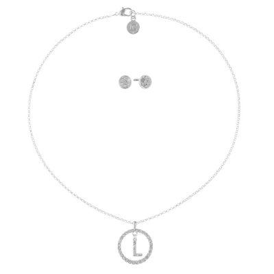 Liz Claiborne Clear Silver Tone 2-pc. Jewelry Set