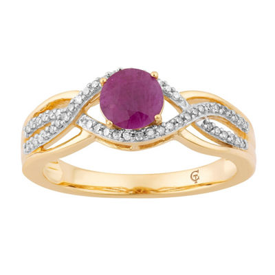 Womens 1/5 CT. T.W. Lead Glass-Filled Red Ruby 10K Gold Cocktail Ring