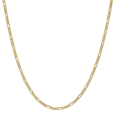 14K Gold 24 Inch Semisolid Figaro Chain Necklace