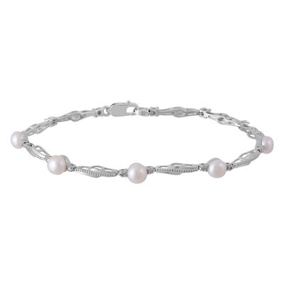 Diamond Accent White Cultured Freshwater Pearl 10K Gold Over Silver 7.5 Inch Tennis Bracelet