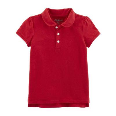 Oshkosh Girls Point Collar Short Sleeve Polo Shirt - Toddler