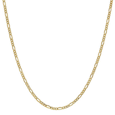 14K Gold 20 Inch Semisolid Figaro Chain Necklace