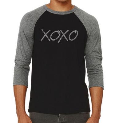 Los Angeles Pop Art Men's Raglan Baseball Word Art T-shirt - XOXO