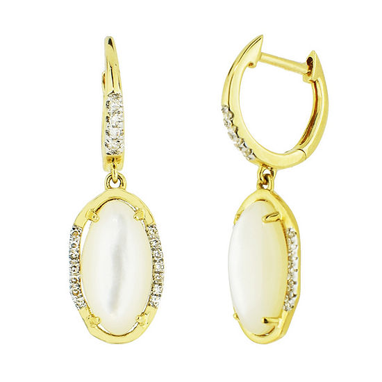 1/8 CT. T.W. Genuine White Mother Of Pearl 14K Gold Drop Earrings