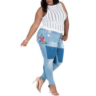 "Poetic Justice Curvy Skinny 29"" Inseam Embroydered Jean - Plus"