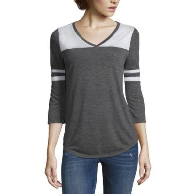 Arizona 3/4 Sleeve V Neck T-Shirt-Womens Juniors