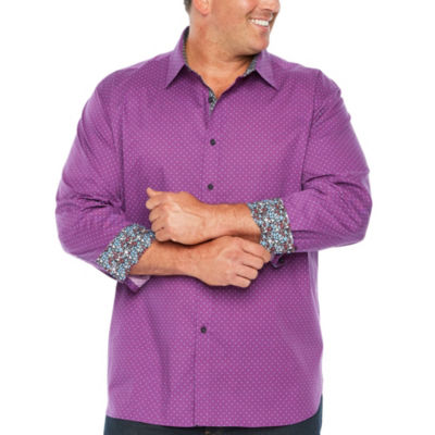Society Of Thread Long Sleeve Dots Button-Front Shirt-Big and Tall