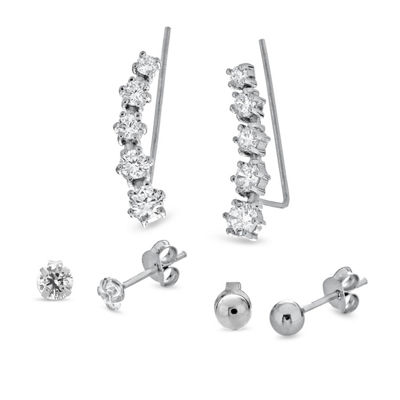 3 Pair White Cubic Zirconia Sterling Silver Earring Set