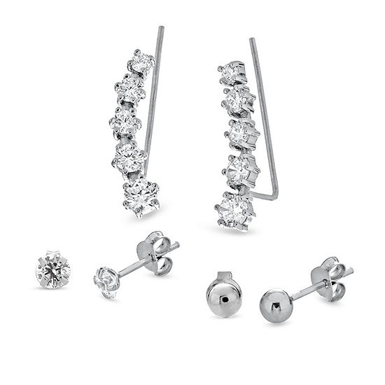 3 Pair White Cubic Zirconia Earring Set